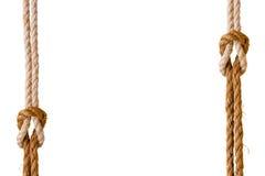 Веревочки с узлами рифа как рамка Стоковое Изображение