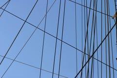 веревочки такелажирования рангоута шлюпки стоковое изображение rf
