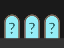 3 двери, вопросительные знаки Стоковое фото RF