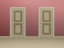 2 двери обшитых панелями бежом Стоковая Фотография