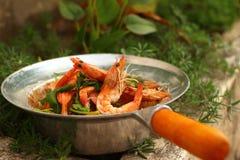 Вермишель креветки - еда Азии Стоковое Изображение