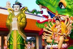 Вероисповедание, Таиланд Статуя Guanyin, Wat Plai Laem, большой Будда Te Стоковое Изображение