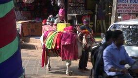 2 вероисповедания встречают вверх в улице курорта Goa - Индуизм и христианство сток-видео