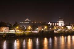 Верона, Италия, каменный мост, старый замок, панорамный взгляд Стоковая Фотография