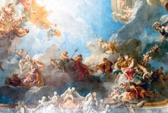 ВЕРСАЛЬ ПАРИЖ, ФРАНЦИЯ - 18-ое апреля: Картина потолка иллюстрация штока