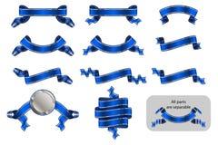 Версия голубой b стикера ярлыка знамени ленты торжественная достигая установленная иллюстрация вектора