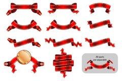 Версия красный b стикера ярлыка знамени ленты торжественная достигая установленная бесплатная иллюстрация