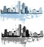 версия панорамы света grunge цвета города Стоковое Изображение