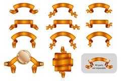 Версия стикера ярлыка знамени ленты торжественная достигая установленная золотая иллюстрация вектора