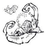 Версия LittleWitch черно-белая Бесплатная Иллюстрация