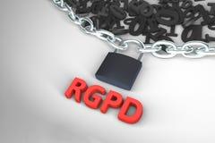 Версия RGPD, испанских и итальянских версии GDPR: Dati dei protezione копеечника generale Regolamento Перевод концепции 3D стоковое изображение rf