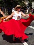 Вертеться ее красное платье Стоковое Изображение
