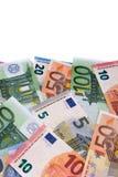 Вертикальная граница различных различных счетов евро Стоковое Изображение