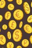 Вертикальная картина с золотыми монетками в различных углах также вектор иллюстрации притяжки corel иллюстрация штока