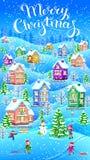 Вертикальная рождественская открытка зимы Стоковое Изображение