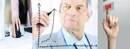 Вертикальное фото пожилой бизнесмен рисуя финансовый план-график владение домашнего ключа принципиальной схемы дела золотистое до Стоковое фото RF