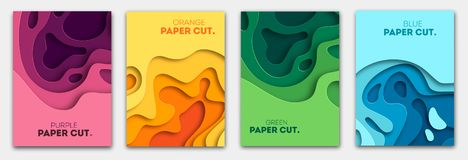 Вертикальные знамена установленные с 3D резюмируют предпосылку и завертывают формы в бумагу отрезка План дизайна вектора для пред иллюстрация вектора