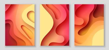 Вертикальные рогульки A4 с предпосылкой конспекта 3D с бумагой отрезали красные волны План дизайна вектора иллюстрация вектора
