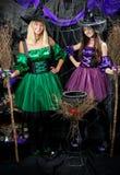 Вертикальный портрет 2 очаровательных ведьм Стоковое фото RF