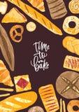 Вертикальный шаблон плаката с рамкой сделанной из очень вкусных хлебов, очень вкусных испеченных продуктов и сладкой выпечки разл иллюстрация штока