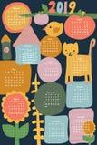 Вертикаль иллюстрации календаря 2019 детей Кот милой руки вычерченный, птица, цветок Плоско скандинавский стиль иллюстрация вектора