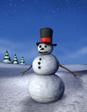 вертикаль снеговика ночи Стоковые Фото