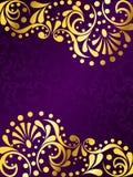 вертикаль филигранного золота предпосылки пурпуровая Стоковое Изображение