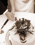 вертикаль sepia вырезывания торта Стоковые Фото