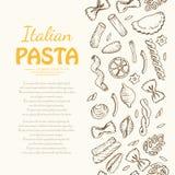 Вертикальная безшовная картина с итальянскими макаронными изделиями Стоковое Изображение RF