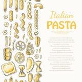 Вертикальная безшовная картина с итальянскими макаронными изделиями Стоковые Фотографии RF