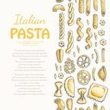 Вертикальная безшовная картина с итальянскими макаронными изделиями Стоковое Фото