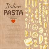 Вертикальная безшовная картина с итальянскими макаронными изделиями Стоковые Изображения RF