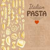 Вертикальная безшовная картина с итальянскими макаронными изделиями Стоковая Фотография