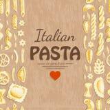 Вертикальная безшовная картина с итальянскими макаронными изделиями Стоковые Изображения