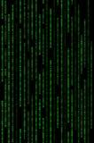 Вертикальная зеленая бинарная предпосылка матрицы Стоковое Фото