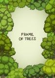 Вертикальная рамка лиственных деревьев шаржа Стоковое фото RF