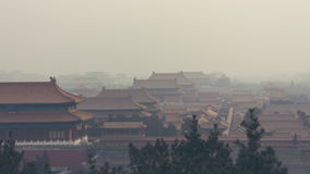 Вертикальная съемка запретного города в Пекине Китае, на туманном Стоковая Фотография RF