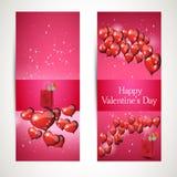 Вертикальные рогульки с приветствиями На день валентинок вектор Стоковые Изображения RF
