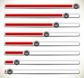 Вертикальные слайдеры, регуляторы или бары загрузки Elem UI, GUI или сети иллюстрация штока