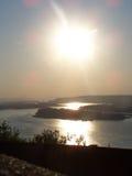 Вертикальный взгляд Рекы Колумбия к Портленду Орегону стоковое фото