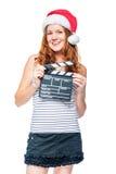 Вертикальный портрет актрисы с трещоткой кино Стоковые Изображения