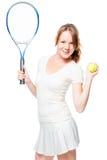 Вертикальный портрет худенькой девушки с ракеткой тенниса Стоковое Фото