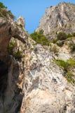 Вертикальный прибрежный ландшафт с утесами и пещерой Стоковые Изображения