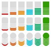 Вертикальный прогресс, ровные индикаторы Символы для того чтобы показать прогрессирование Стоковые Изображения RF