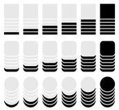 Вертикальный прогресс, ровные индикаторы Символы для того чтобы показать прогрессирование Стоковое фото RF