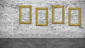 4 вертикальных золотых рамки Стоковое Изображение RF