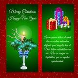 2 вертикальных карточки с украшением рождества и Стоковая Фотография RF
