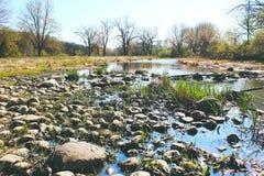 вертикаль реки панорамы горы 3 изображений hdr Стоковые Изображения