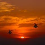 Вертолеты, теплый заход солнца, заход солнца на пляже Стоковые Изображения RF