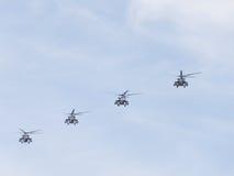 Вертолеты Mi-35 в небе Стоковое Фото